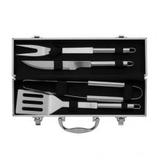 Kit churrasco 4 peças em maleta de alumínio com relevo.